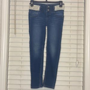 Squeeze Stretch Denim Skinny Jeans Sequin Waist